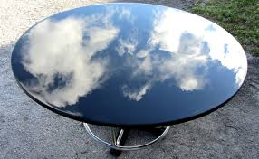 Black Lacquer Dining Room Furniture Art Deco Round Black Lacquer And Chromed Steel Dining Table