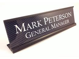Personalized Desk Name Plates Personalized Desk Name Plate Carbon Fiber Look With Black Metal