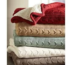 Sofa Blankets Throws Cozy Cable Knit Throw Pottery Barn