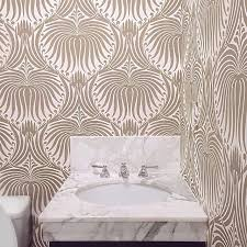 taupe farrow and ball lotus wallpaper transitional bathroom