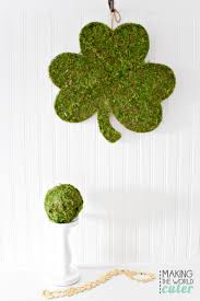 diy shamrock with moss and decor ball