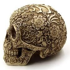wholesale decoration resin flower skull ornament in
