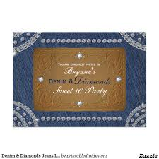 Sweet 16 Birthday Invitation Cards Denim U0026 Diamonds Jeans Label Party Invitations Invitation