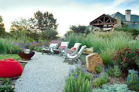 Gravel Fire Pit Area - fire pit area landscape rustic with stonework spark screen