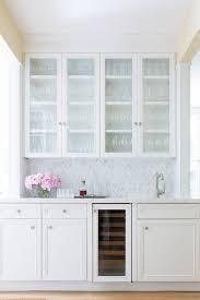 gray kitchen bar with glass door beverage fridge transitional