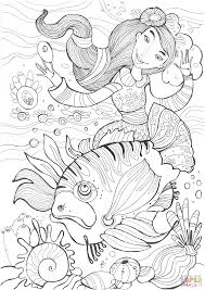 beautiful mermaid witch and ugly fish coloring page free