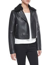 moto biker jacket t by alexander wang leather moto jacket with shearling fur collar
