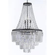 shade crystal chandelier harrison lane odeon glass fringe light crystal chandelier with