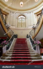 stairwell polish palace old architecture red stock photo 10887664