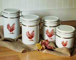 rooster canisters kitchen products chicken canister set etsy