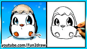 how to draw for kids super cute baby penguin fun2draw youtube
