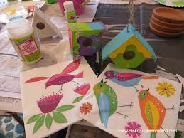 pink and green mama easy kid craft mod podge bird houses