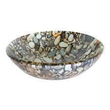 Lowes Pebble Rocks by Shop Eden Bath Natural Pebble Glass Vessel Round Bathroom Sink At