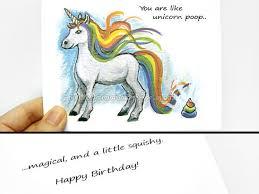 funny card unicorn happy birthday card thank you card