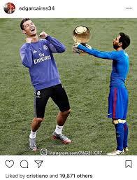Cristiano Ronaldo Meme - cristiano ronaldo likes instagram post showing lionel messi