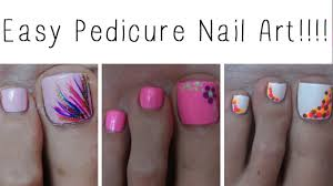easy pedicure nail art three cute designs youtube