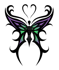 cool purple green tribal butterfly sketch tattoomagz