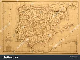 Map Of Spain And Portugal Original Vintage Map Spain Portugal Printed Stock Photo 7958782