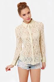 pretty blouses top lace top button up top 58 00