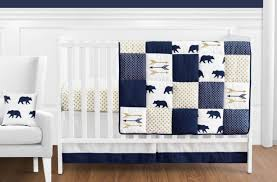 navy blue gold and white patchwork big bear boy baby crib bedding