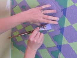 wall stencils painting homebase with simple green and purple