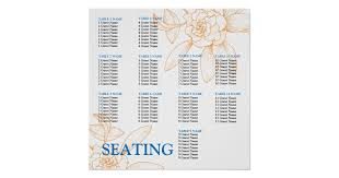 Wedding Seat Chart Template Party Seating Chart Posters Zazzle