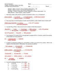 molarity molality normality and mass percent worksheet ii