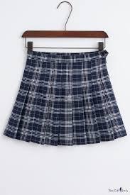 stylish classic plaid zip fly mini pleated skirt