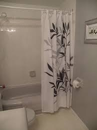 Grey And Yellow Bathroom by Bathroom Grey Ikat Shower Curtain With Cabinets And White Wall