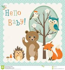 cute woodland friends baby shower stock vector image 55353453