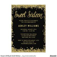 Sweet 16 Birthday Invitation Cards Modern Black And Gold Glitter Sweet 16 Invitations This Trendy