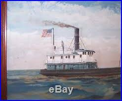 Nautical Painting 1924 Nautical Painting Signed Joe Selby African American Artist Nr