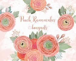 Peach Flowers Peach Flowers Clipart Wedding Clipart Boho Flower Posy