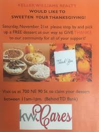 kw thanksgiving dessert giveaway keller williams miami shores