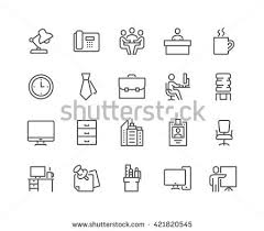 Line Desk Simple Set Office Related Vector Line Stock Vector 421820545