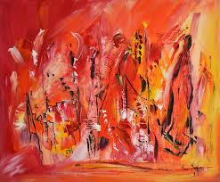 Tableau Triptyque Contemporain by Tableau Abstrait Contemporain Au Couteau Rouge Orange Jaune