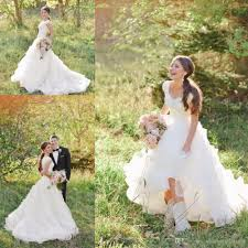 2017 western country style wedding dresses garden gorgeous v neck