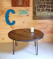 reclaimed wood round coffee table with hairpin legs home