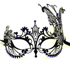 butterfly metal filigree masquerade mask with blue crystals