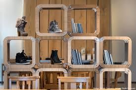 retail design tông shelving room divider display unit cardboard