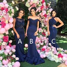 wedding bridesmaid dresses mismatched different mermaid royal blue affordable