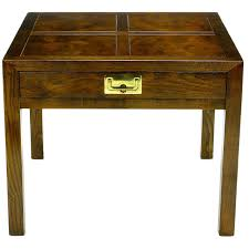 henredon parquetry top burl walnut campaign end table at 1stdibs