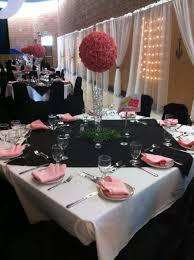 Table And Chair Covers Paris Theme Black White And Pink Table Arrangement Chair