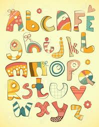 alphabet design in doodle style letters a z illustration royalty