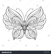 decorative butterfly coloring book older stock vector