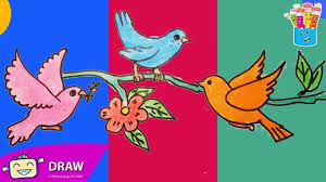 how to draw birds flowers coloring pages for kids nursery