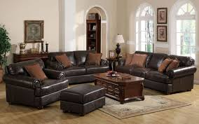 Leather Sofa Loveseat 2 Pc Brown Leather Traditional Sofa Loveseat Set