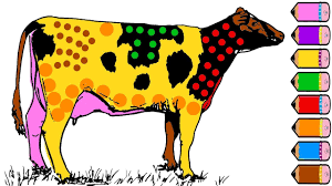 cute cow coloring page learn colors for kids youtube