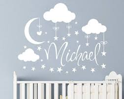 Wall Decor For Baby Room Moon Decals Etsy