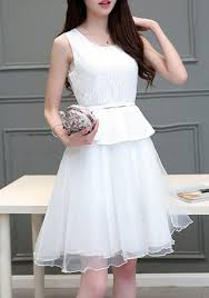 white plain peplum sleeveless grenadine puffy tulle adorable 8th